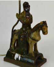Chinese Ceramic Lamp Base With Figure on Horse