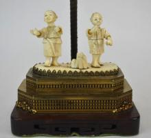 Antique Chinese Carved Bone Lamp Base