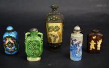Five Chinese Ceramic, Wood, or Bone Snuff Bottles