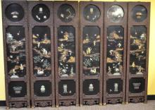Chinese Inlaid Six -Panel Lacquered Screen