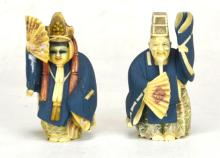 Pair of Japanese Painted Antique Figures