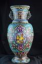 Chinese Cloisonne Enameled Two-Handled Urn or Vase