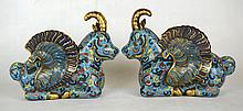 Pair Of Chinese Enameled Bronze Winged Goat Fiqures