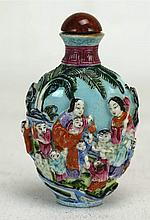 Chinese Porcelain High Relief Snuff Bottle