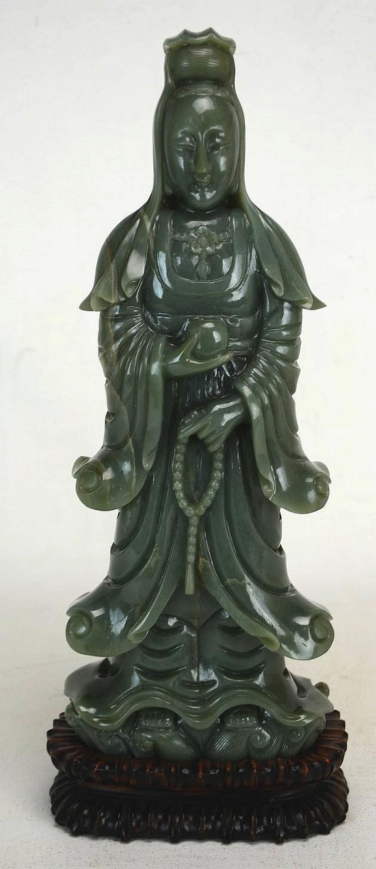 18th C. Chinese Green Jade Carving of Guan Yin