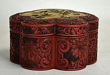 19th C. Chinese Floriform Cinnabar Box