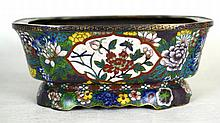 Chinese Enameled Bronze Cloisonne Footed Brush Pot