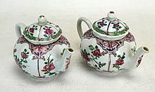 Pair of Chinese Porcelain Rose Medallion Teapots