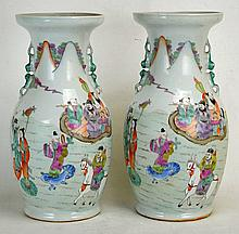Two Chinese Famille Rose Baluster Vases