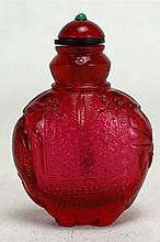 Chinese Red Peking Glass Snuff Bottle