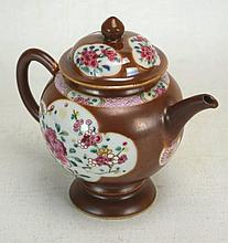 Chinese Brown Glaze Rose Medallion Porcelain Teapot