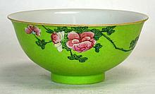 18th C. Chinese Famille Rose Bowl w/ Green Ground