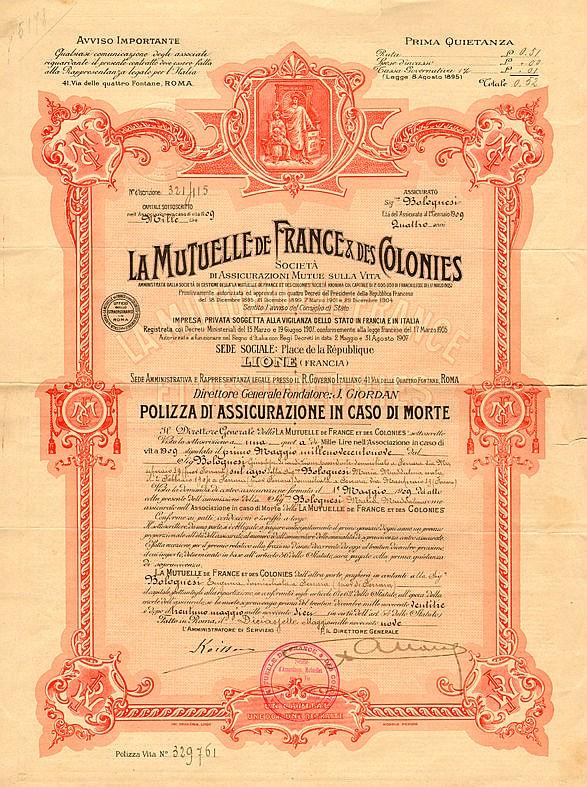 La Mutuelle de France & des Colonies - Società di Assicurazioni Mutue sulla Vita
