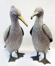 PAIR OF LARGE WHITE CLOISONNE BIRDS