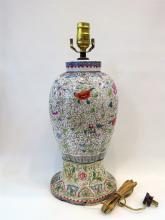 CHINESE FAMILLE ROSE ENAMEL LAMP