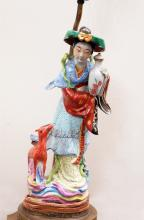 CHINESE FAMILLE ROSE MAIDEN LAMP WITH DEER