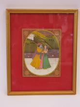 VINTAGE WATERCOLOR INDIAN MIGUAL PAINTING