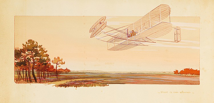 Wright au Camp d'Auvours.  1908