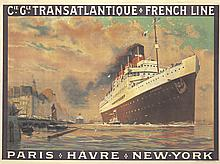 Transatlantique-French Line / Paris-Havre-New York. 1922