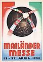 Old Original 1930s Italian Milano Fair Poster Plakat