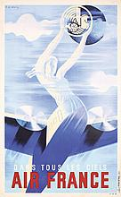 RARE Original 1930s Air France Travel Poster Valerio Ar