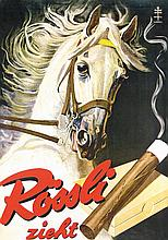 Original 1950s Swiss Cigar Rössli Tobacco Poster Plakat