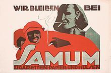 RARE Original 1920s Cigarette Poster EGYPT Samum