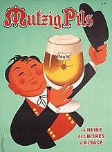 Funny Original 1960s HERVE MORVAN French Beer Poster