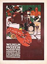 Old ORIGINAL 1900s HOHLWEIN Mozer Lobster Poster Plakat