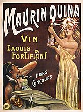 RARE Original 1900s Maurin Quina French Wine Poster