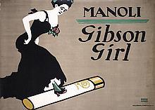 RARE Original 1911 Manoli Gibson Girl Poster BERNHARD