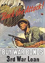 Original American World War II Poster Back The Attack