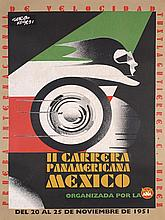 STUNNING Original 1950s Mexican Auto Racing Poster