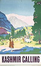 Original 1950s Kashmir Travel Poster