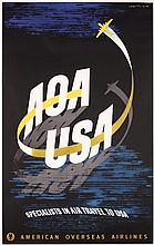 Original 1940s American Overseas Airlines Travel Poster