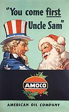 RARE Original 1940s Amoco Santa Claus Uncle Sam Poster