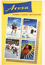 Original 1950s Arosa Ski Winter Sports Travel Poster