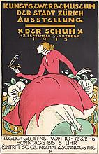 Beautiful RARE Original 1910s Swiss Shoe Design Poster