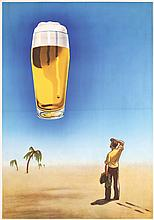 Funny Original 1950s German Beer Poster BEER MIRAGE