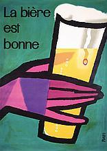 ORIGINAL 1950s Swiss Beer Poster PIATTI Design Plakat