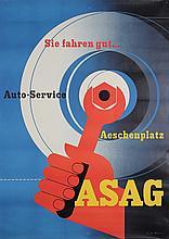 Stunning Original 1950s Swiss Auto Design Poster HAURI