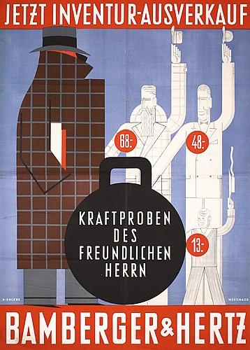 Rare Old 1930s Bamberger Hertz Poster Plakat Ehlers