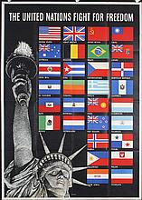 Old 1940s American World War II United Nations Poster