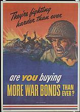 2 Original American World War II Poster FIGHTING HARDER