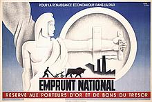 Original French World War I Bonds Poster CARLU ART
