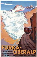 ORIGINAL 1920s/30s Swiss Travel Poster FURKA-OBERALP