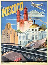 RARE 1930s Mexico Travel Poster Rail & Airplane