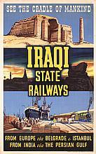 Old Original 1940/50s IRAQ State Railway Travel Poster