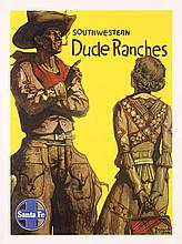 Original 1940s Santa Fe Rail Travel Poster Dude Ranches