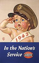 Rare Original LEYENDECKER Amoco Gas World War II Poster